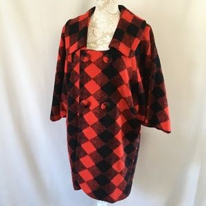 1950's diamond pattern coat with dolman sleeves